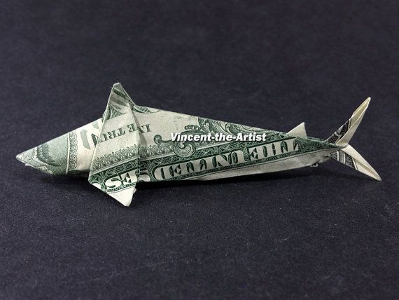Dollar bill origami shark great gift idea sea fish for Dollar bill origami fish