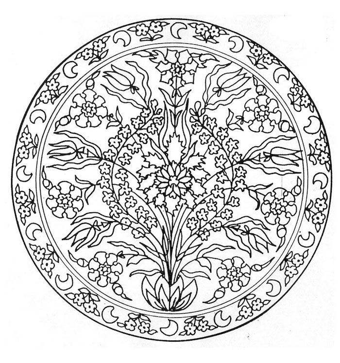 Ein Strauss Mit Vielen Kleinen Weissen Und Schwarzen Blumen Mit Weissen Blattern Ein Mandala Ausmalbild Mit Einem We Mandala Blumen Mandala Ausmalen Ausmalbilder