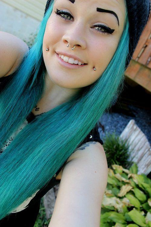 Light blue dimple piercing