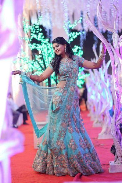 Sangeet Lehengas - Tiffany Blue Lehenga | WedMeGood | Tiffany Blue Lehenga with Gold and Silver Embroidery and Net Dupatta #wedmegod #indianbride #indianwedding #lehenga #tiffanyblue