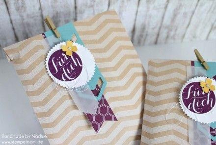 Stampin Up Box Verpackung Goodie Give Away Tag a Bag Gift Bag Geschenktueten Schnelle Ueberraschung Framelits Stardust Stempelset Gruess dich Vellum