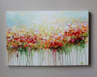 ORIGINAL Blumenmalerei, abstrakte Blumenmalerei, rot, Orangegreen, Raumdekoration, ORIGINALpainting, zeitgenössische Neutral