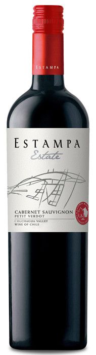 Estampa Estate Cabernet Sauvignon 2010. 15% Petit Verdot. Cabernet Sauvignon from estate vineyards in Marchigüe & Palmilla. Petit Verdot from Marchigüe. 30% aged in French oak barrels, the rest in stainless steel. Juicy cassis and dark chocolate, soft tannins, finishing with a touch of toasty oak.