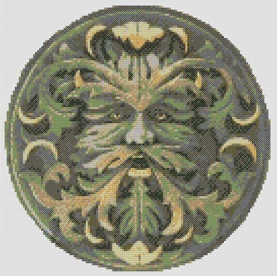 Green Man Cross Stitch pdf chart / pattern celtic by ZenXstitch, £4.00