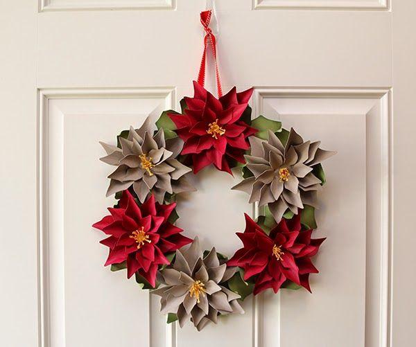 3d paper poinsettia and poinsettia wreath
