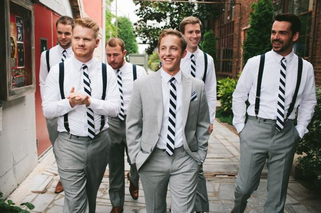 Bridal party. Groom and groomsmen. Groomsmen attire. Suspenders ...