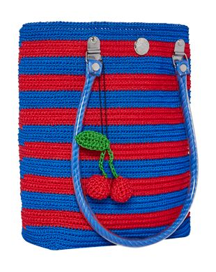 "Classic blue and red stripes are an everyday staple. Detailed with a detachable cherry ""dangle"" for extra fun. All of our totes are designed in Australia and meticulously hand woven by artisans in India, using re-purposed fishing twine. This creates a beautifully made, long lasting and eco-friendly product that is truly one of a kind."