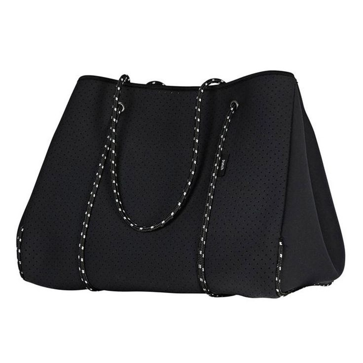 Perforated black neoprene tote carry bag with zip & rope handles. Small coin purse inside. 30 x 30 x 24 cm. Available in Black, Charcoal, Grey, White, Navy, Metal