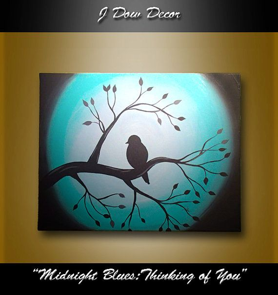 Bird on tree branch painting - Midnight Blues: THINKING OF YOU, 11x14 canvas, acrylic paint - teal aqua turquoise