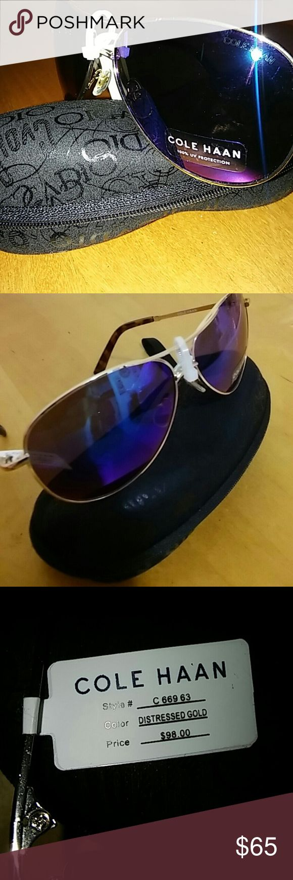 Cole Haan Aviator   Cole Haan woman's aviator sunglasses.  New With Tags. Frame Distressed Gold. 100% UV Protection.   Case is not included. Cole Haan Other