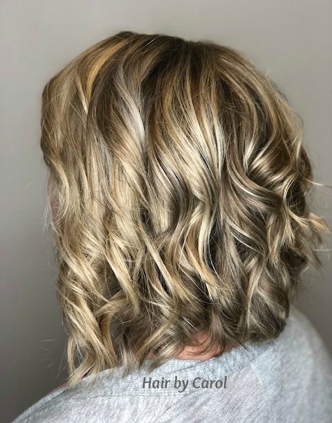 Balayage Highlights Pop With This Long Layered Bob And Loose