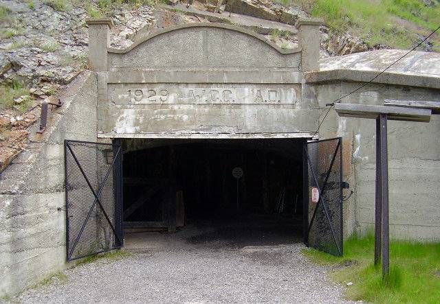 The entrance to the Bellevue Mine in the Crowsnest Pass, Alberta, Canada.