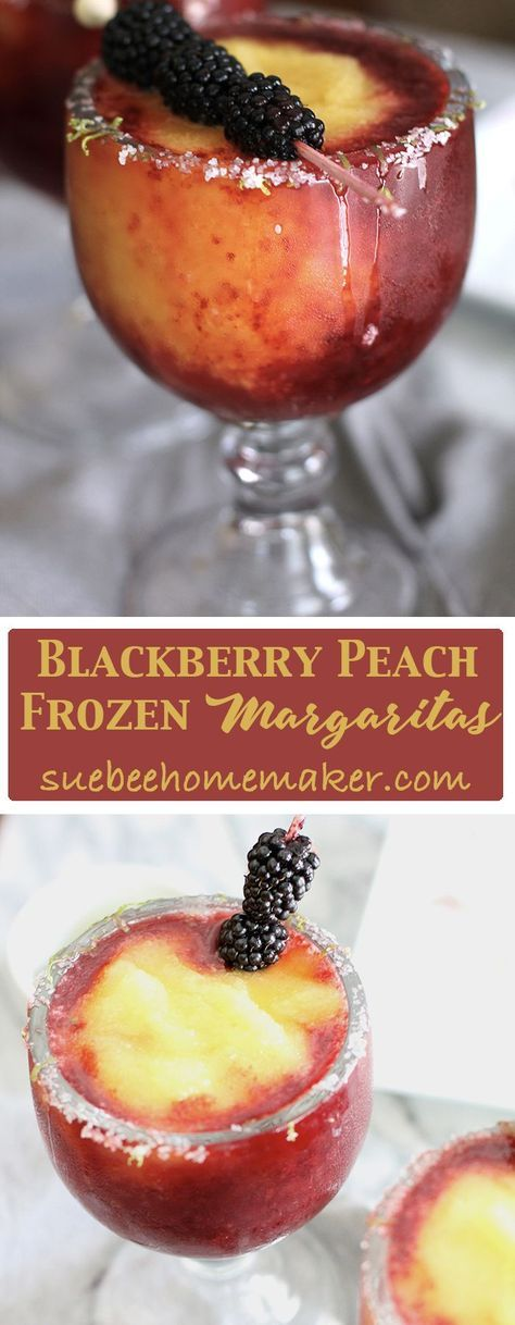 Blackberry Peach Frozen Margaritas are the perfect hot weather drink. Use good quality liqueurs, fresh limes, frozen fruit, and plenty of ice!