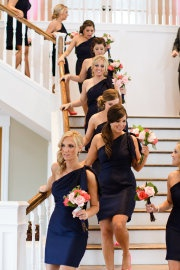 bridesmaid dresses: Bridesmaid Dresses Navy Blue, Idea, Dresses Style, Bridesmaid Hair, One Shoulder Dresses, Color, The Dresses, Cute Bridesmaid Dresses, Flower