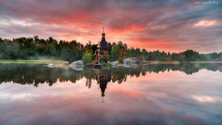 Cerkiew, Las, Jezioro, Mgła, Chmury, Wschód, Słońca
