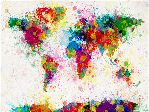 Paint Splashes Map of the World Map Art Print 18x24 by artPause, £14.99