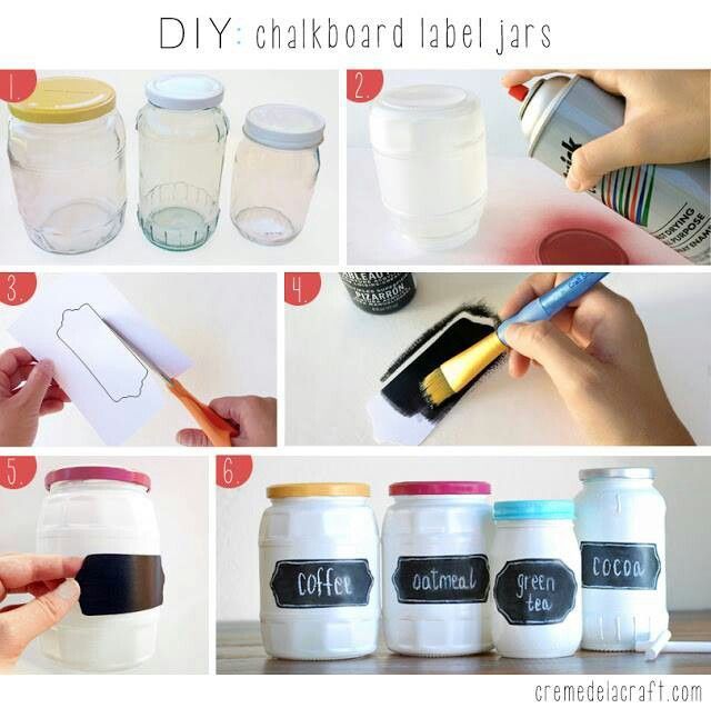 DIY painted jars with chalk labels. Super cute. Would make a great craft for a girls night, housewarming gifts, or Christmas presents for the masses.