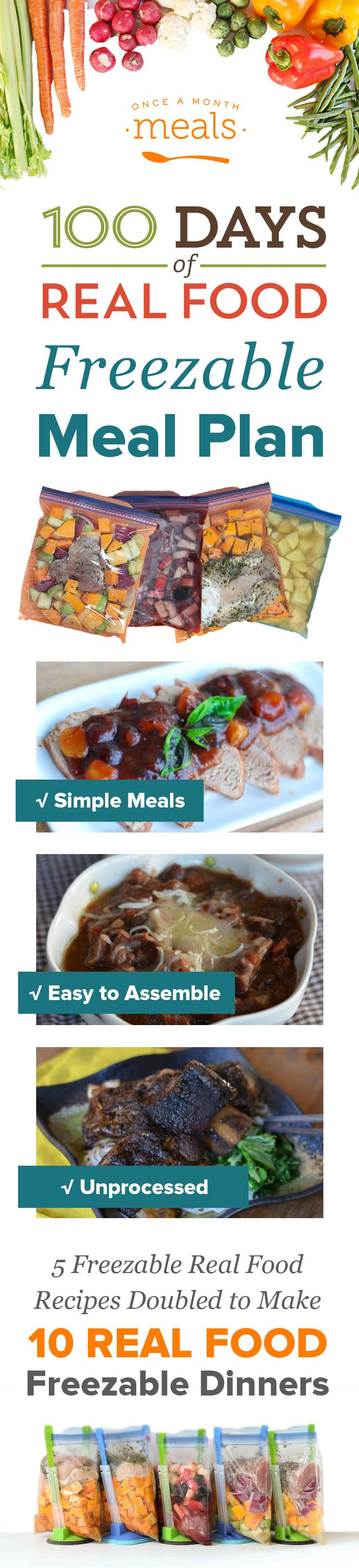 Check out this custom menu built by 100 Days of Real Food for tasty freezer meals.  5 recipes doubled to 10 dinners, your Slow Cooker will come in use this winter.