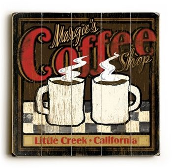 "Coffee signs diy | Personalized Vintage Art ""Coffee Shop"" Sign"