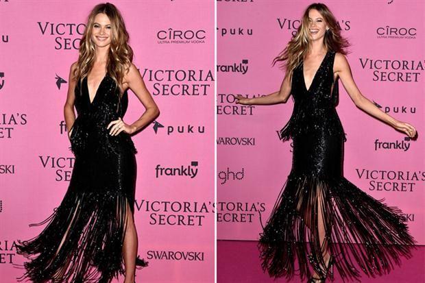 Victoria's Secret: todos los looks de la after party  Behati Prinsloo se divirtió con este original vestido de flecos. Behati, queremos tu cara, tu cuerpo, tu vestido ¡y tu novio (Adam Levine)!.  /celebmafia.com