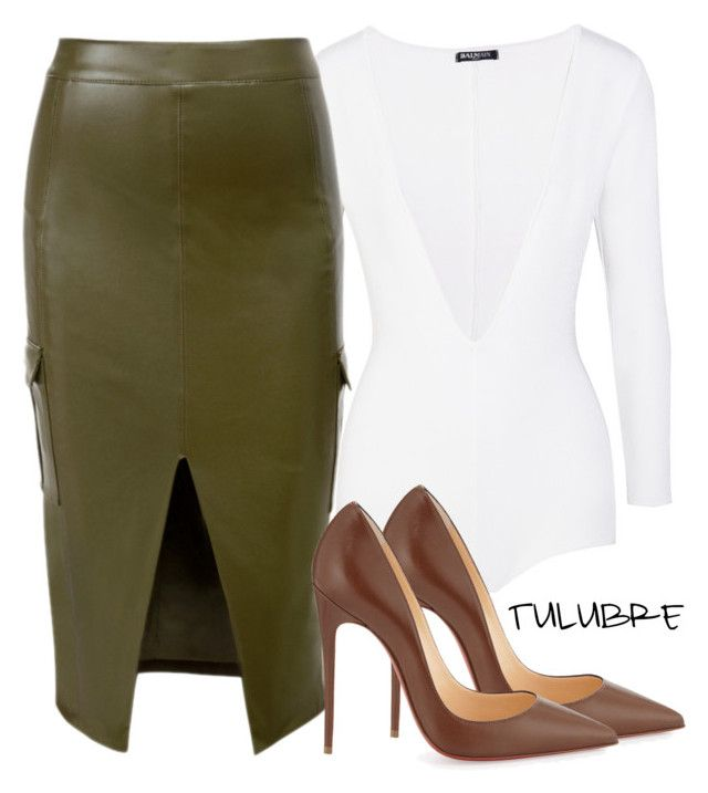 Untitled #221 by tulubre on Polyvore featuring polyvore fashion style Balmain Christian Louboutin