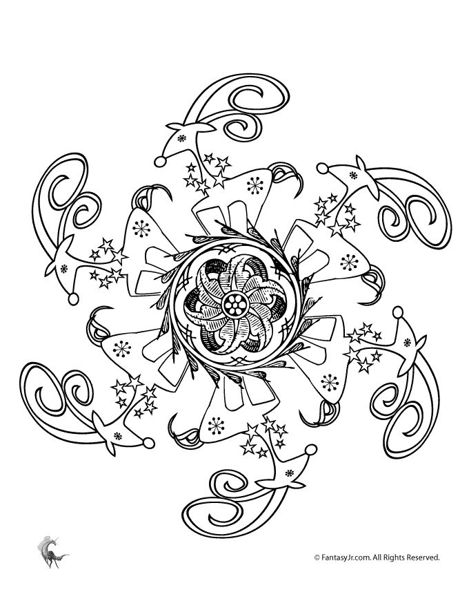 Christmas Mandala Coloring Pages Reindeer and Christmas Flower Mandala Coloring Page – Fantasy Jr.