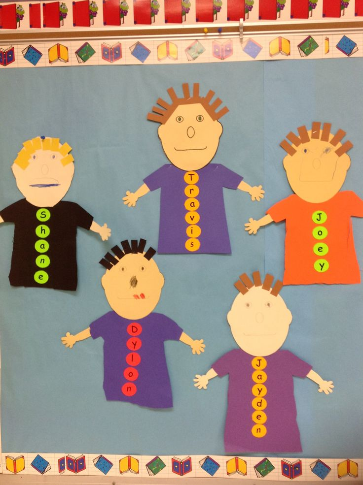 a fun activity for students to learn the letters in their name and the order of those letters.  shirt and button activity                Students practiced cutting skills, colors, letter identification and order with this project.  It looked so cute too.