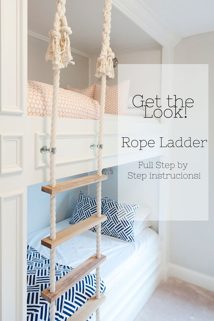 This post is a full tutorial of the rope ladder we made.  For a tutorial on our built in bunk beds go HEREI first saw the rope ladder on Pinterest, I am sure you all have.  Then I clicked the picture, hoping for full instructions, and it was nothing but a nice picture (not even a full…