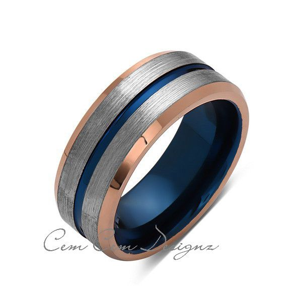 Blue Tungsten Wedding Band Rose Gold Tungsten Ring 8mm Mens