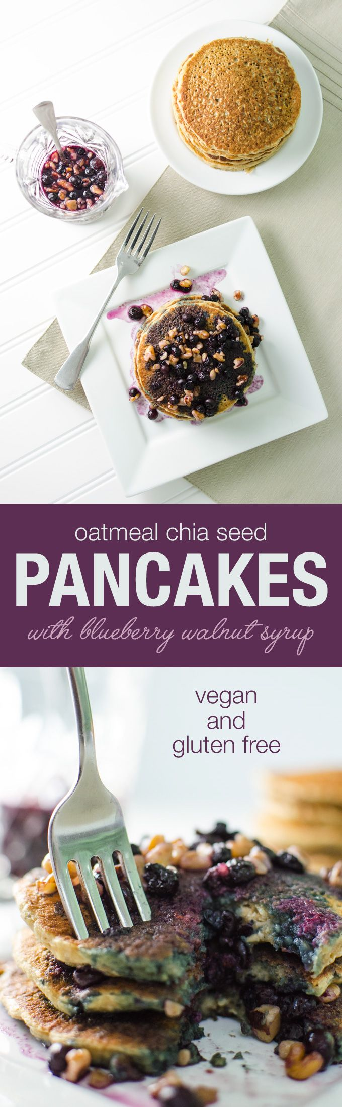 Oatmeal Chia Pancakes with blueberry walnut syrup - vegan and gluten free | Veggieprimer.com #veganbreakfast #pancakes