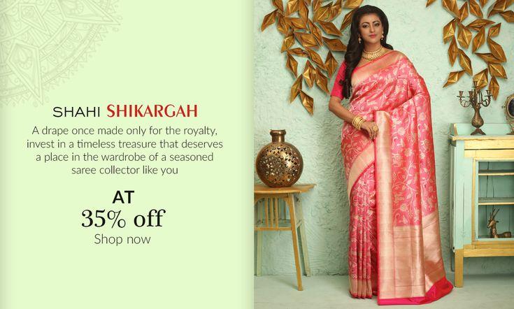 Royal Contour – 9 Selective #Banarasi #ShikargahSarees have arrived!  #Shatika #Onlineshopping #Handloomsarees #Newarrivals #Newlaunch #Silk #Sarees  #Sale #Newyear #Offers #Discount