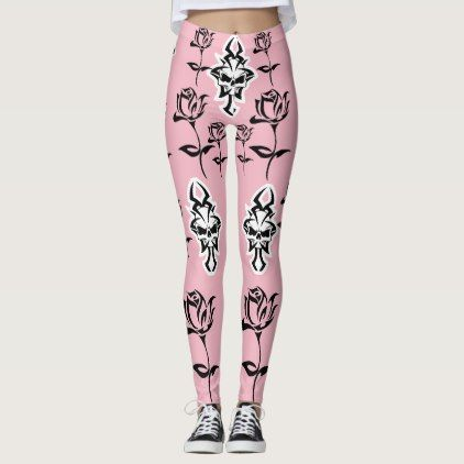 #PINK SKULLS AND ROSES - LEGGINGS - #giftsforher #gift #gifts #her