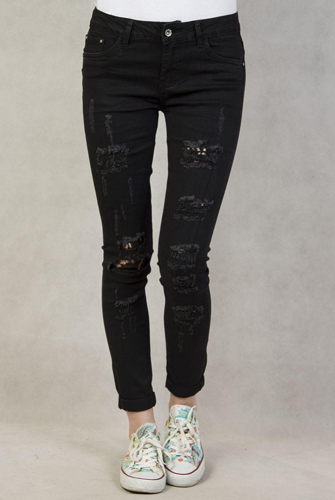 Czarne spodnie z przetarciami