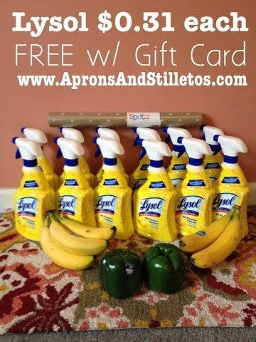 Target dealBought 6 Lysol @ $1.97 each + B2G1Free= $7.88Used 3 $2/1 MFQ's from the Walgreens Cold & Flu booklet (-$6)= $1.88Paid using my $5 Target reserve GCIf you have no Target G…