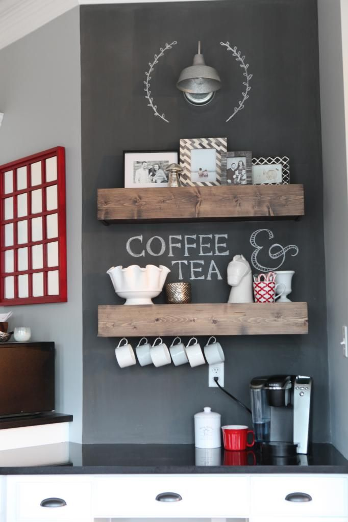 How to make these floating shelves in this cute coffee station nook, stained with Minwax Dark Walnut (used minwax Pre-Stain first, sanded with 400 grit sandpaper in between coats, and finished with Minwax Polycrylic)