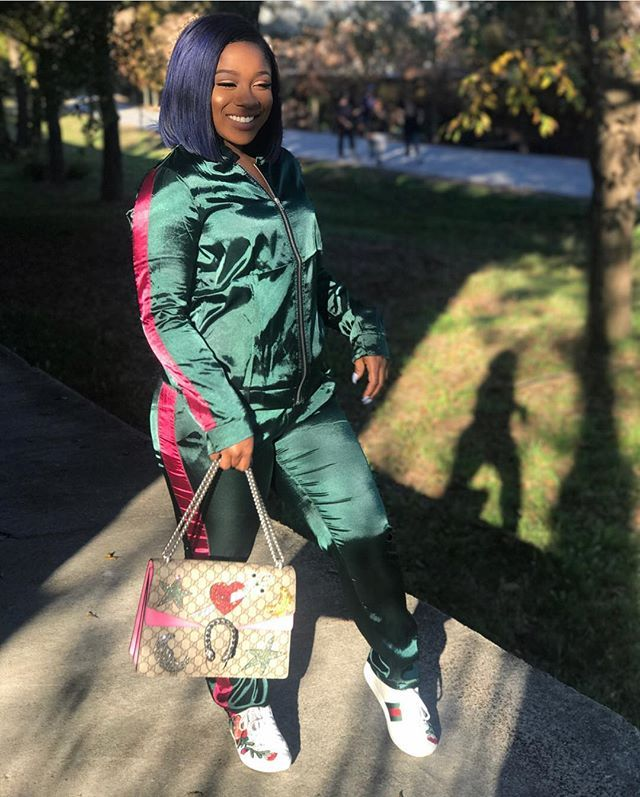 #ReginaeCarter cleverly paired a #fashionnova silk track suit with her #Gucci sneakers and handbag. Chic! What do you think? #ad #instastyle #style #fashion #instafashion #celebritystyle #fashionbombdaily - Celebrity #Fashion Style Culture Couture Advertising Culture #Beauty Editorial #Photography Magazines Supermodels Runway Models