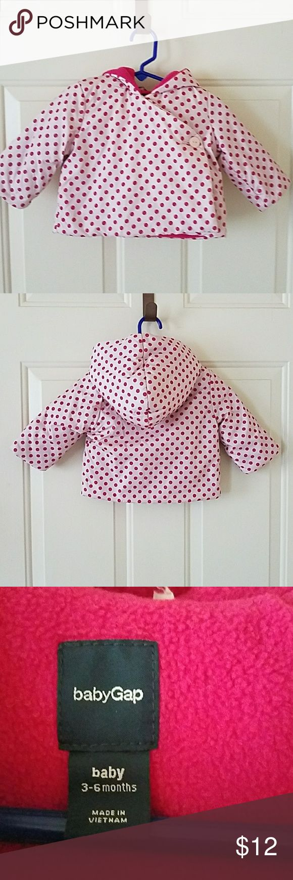 Pink Polka dot puffy jacket 3 to 6 months Adorable jacket with hoodie in light pink with dark pink polka dots. babyGap Jackets & Coats Puffers