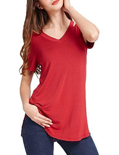 4ccd97aa43d Kate Kasin Women's Short Sleeve Hollow V-Neck T-Shirts Cotton Curved Hem  Tunic