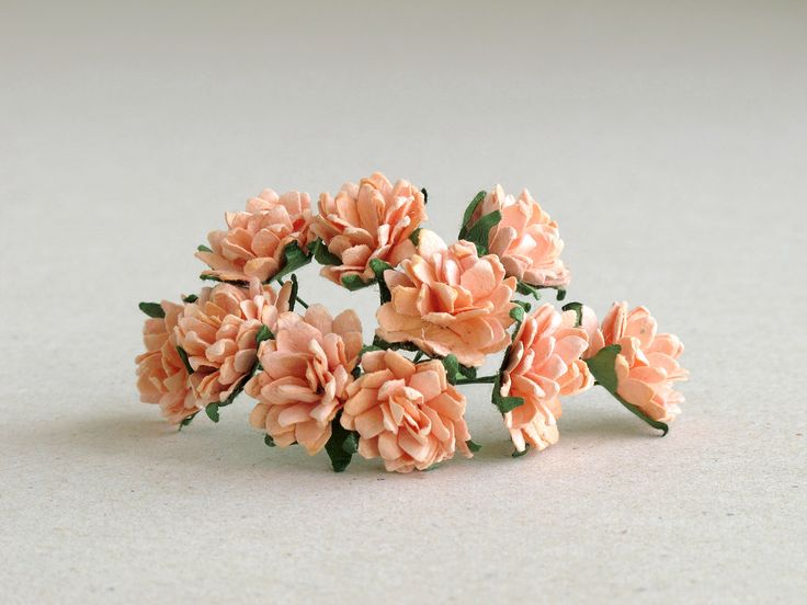 20mm Peach Paper Dahlias - 10 mulberry paper flowers with wire stems - Great for DIY projects [135] by SQUISHnCHIPS on Etsy https://www.etsy.com/listing/192215163/20mm-peach-paper-dahlias-10-mulberry