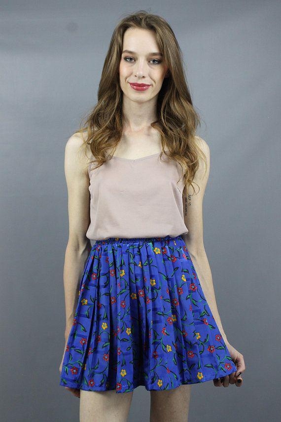 a2cdb595b Pleated Mini Skirt Blue Floral Skirt Floral Mini Skirt Pleated Skirt ...