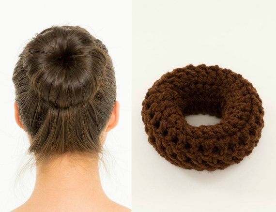 Dark Brown Sock Bun Maker / Crocheted Donut Bun Maker