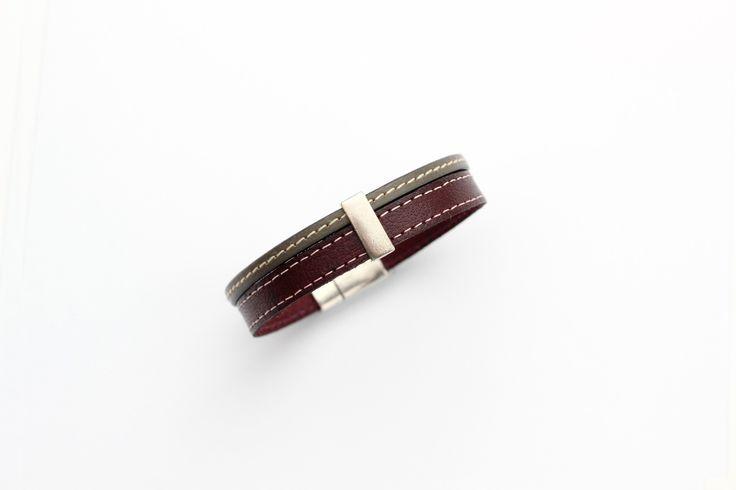Bracelet Homme Cuirs cousus Bordeaux et Taupe passant étain (Taille personnalisable à la commande) : Bijoux pour hommes par creea2-atelier