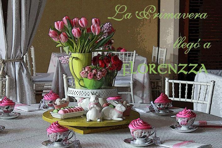 """Florenzza """"Spring"""" entre tazas, flores, conejos, decoramos un baby shower en primavera."""