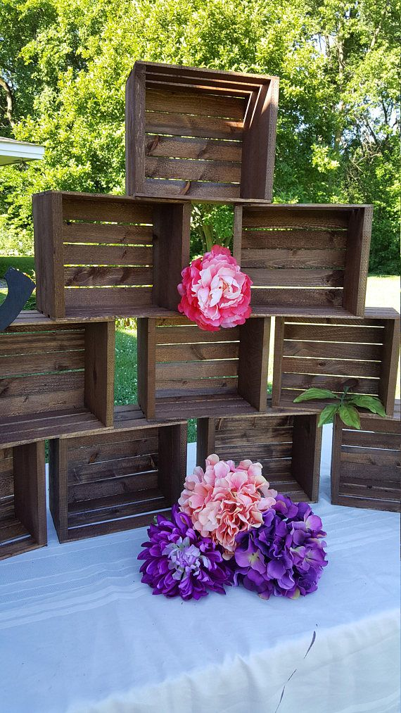rustic cupcake stand , BUILD YOUR OWN CUPCAKE STAND ORDER AS MANY AS YOU LIKE TO BUILD THE STAND YOU WANT TURN THEM UPSIDE DOWN or right side up HAS MANY IDEALS TO USE FROM cake stand cupcake stand , wood crates, wedding table centerpiece, wedding reception, wedding decorations wood