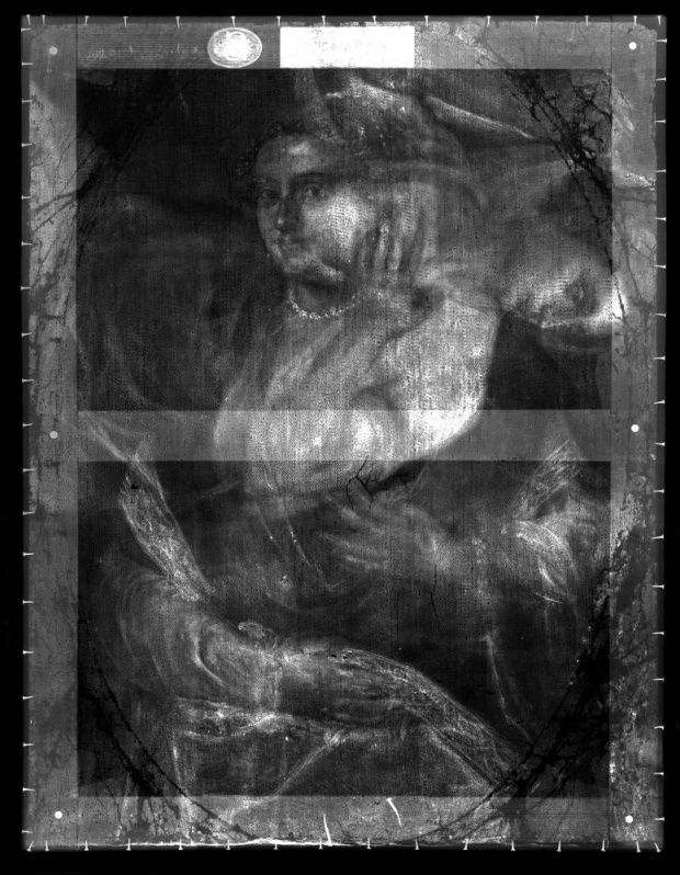 X-Ray of Titian's Mistress © English Heritage/Hamilton Kerr Institute.