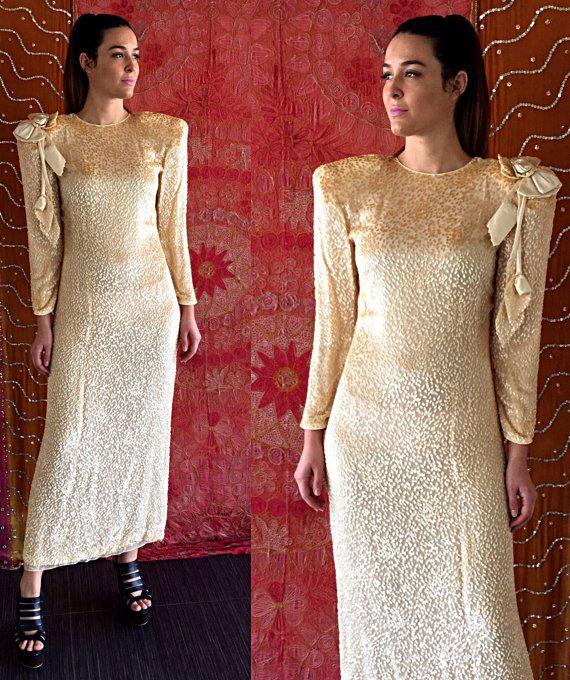 Vintage des années 80 robe mariage robe en soie TN-o Digna Yero Couture robe de soirée