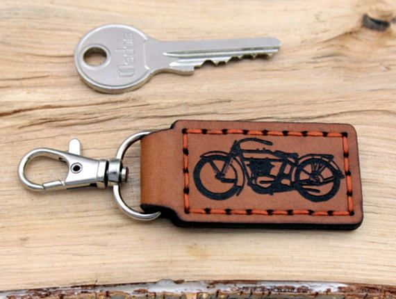 Keychain Key Fob Harley old Motorcycle  Personalized Natural Leather  Monogram Keyring carabiner Gift for Him Boyfriend Father Grandfather