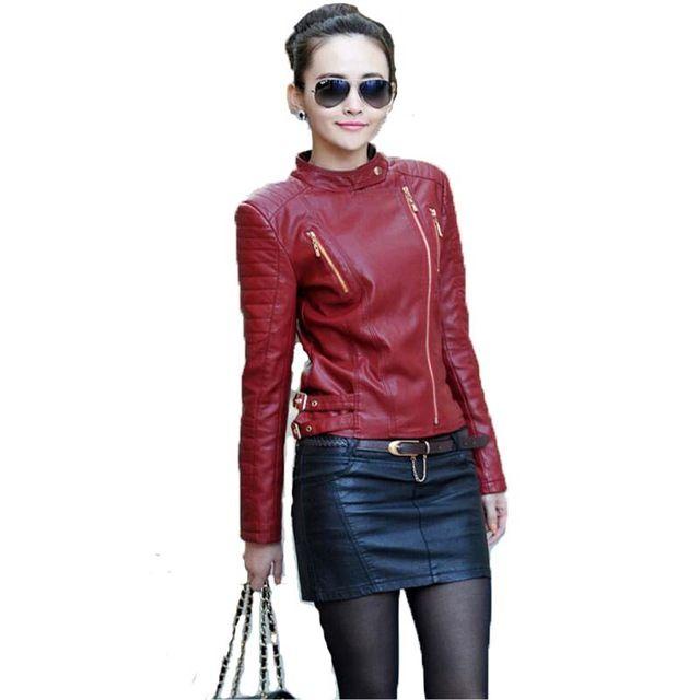 Primavera e no outono jaqueta de couro vermelho mulheres 2017 novas mulheres casaco de couro curta magro clothing feminino jaquetas de couro da motocicleta