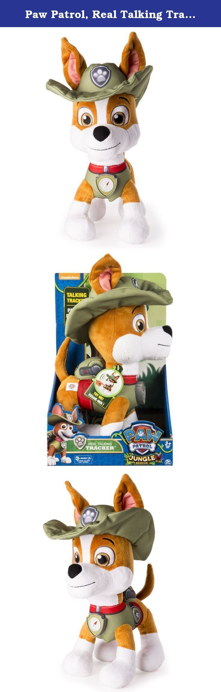 Paw Patrol, Real Talking Tracker Plush. Paw Patrol is on a Roll! Now you can bring home your favourite Paw Patrol Pup with Real Talking Tracker! Just squeeze Tracker's badge to hear phrases directly from the Paw Patrol show! Perfect for bedtime or playtime Tracker comes with you wherever you go and helps you on all of your Paw Patrol adventures throughout the day! Each Real Talking plush Pup comes with a badge, their Paw Patrol vest and hat. Collect all your favorite pups for more Paw…