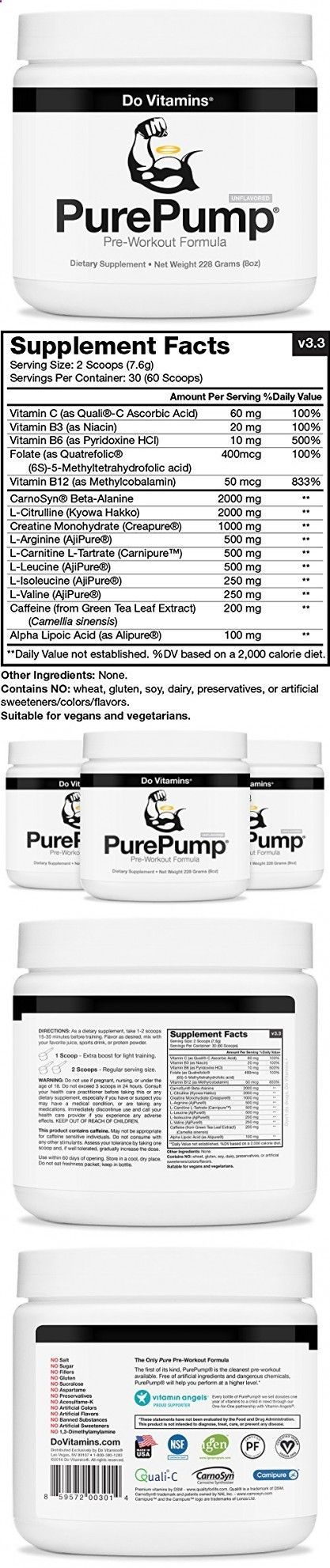 PurePump Natural Pre Workout Supplement for Men  Women, Cleanest Pre-Workout Powder Fitness Supplements Certified Paleo, Vegan, Non-GMO - No Artificial Sweeteners Colors or Flavors, 228 Grams (8 oz)